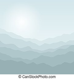 Silhouette of the Mountains at Sunrise - Mountain Landscape,...