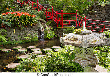 Pond and garden decoration in oriental style. Monte Palace...