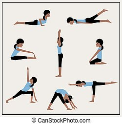 Set of asanas. African American girl does exercises. Vector...
