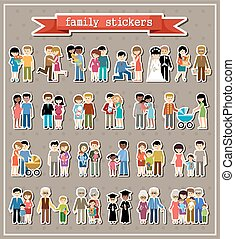 Stickers of family life in style flat design. Parents,...