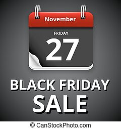 Black friday sale, calendar with dark page, vector...
