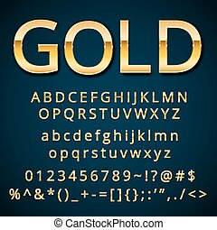Gold letter, alphabetic fonts with numbers and symbols...