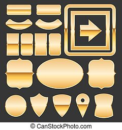 Gold elements - Gold elements symbol set - borders, labels,...