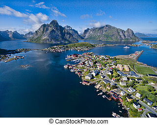 Scenic Reine in Norway - Aerial view of fishing village...
