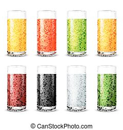 Oranges - Vector illustration set of juice glasses with...