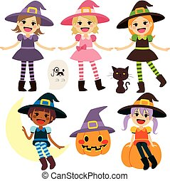Cute Witch Collection - Cute lovely colorful witch girls...