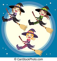 Cute Witches Group Flying - Cute little group of witches...