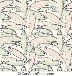 Traditional Portuguese icon. Colored sardines with geometric patterns. Seamless fish pattern. Vector illustration