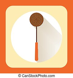 Kitchen ware skimmer. Vector flat icon with long shadow