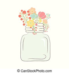 Cute bouquet of wedding flowers in a glass jar. Vector...