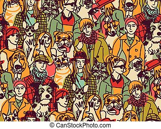Big group people and pets color seamless pattern