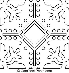 Unique coloring book square page for adults - seamless pattern tile design, joy to older children and adult colorists, who like line art and creation, vector illustration
