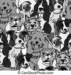 Group dogs seamless pattern gray scale - Crowd dogs in...