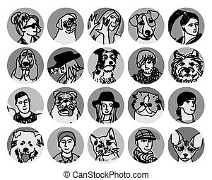 People and pets faces round icons gray scale set -...