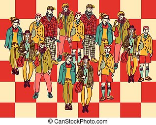 Politics chessboard group people color