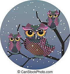 Owl in Night Forest - Cartoon great horned owl on a tree...