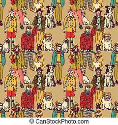 Walking people and dogs color seamless pattern