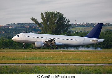 Plane landing - Landing of a passenger plane