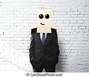 businessman with a box on head