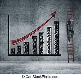 businessman climbing on ladder and chart
