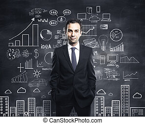business plan - businessman and business plan concept on...