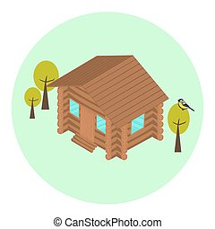Wood log isometric house icon with trees and titmouse Eco...