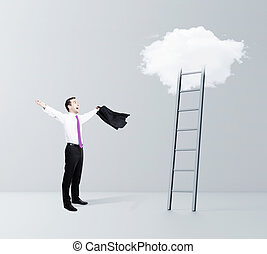 happiness businessman and cloud Stairway to Heaven