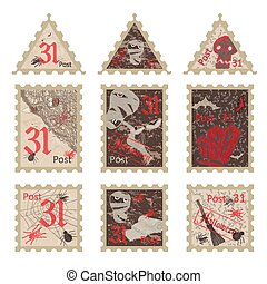 Set of vintage post stamps for Halloween party Vector...