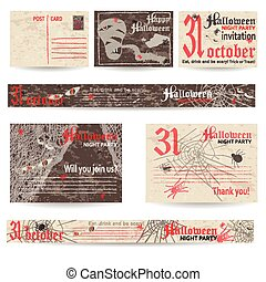 Set of vintage post stamps for Halloween party. Vector...