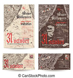 Set of vintage post stamps for Halloween party