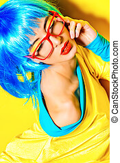 spectacles - Bright glamorous girl in vivid clothes and a...