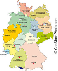 Map of Germany with national boundaries and national...
