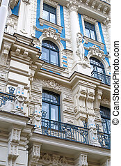 Jugendstil Building in Riga Alberta Street - Close up bottom...