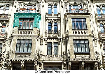 Jugendstil Building in Riga Alberta Street - Close up bottom...
