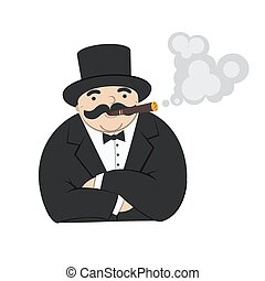 rich man - cartoon rich man smoking a cigar - Illustration