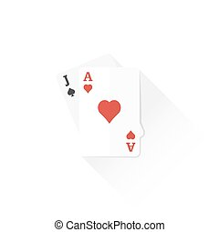 color playing cards black jack combination icon illustration...