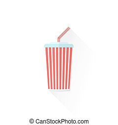 color paper takeaway cola cup icon illustration - vector red...