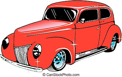 39 Ford Sedan - Vector, ford, hot rod, custom, hand drawn,...