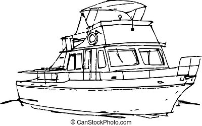 Sketche Offshore Boat - vector, sketch of offshore cruising,...