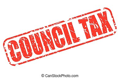 COUNCIL TAX red stamp text on white