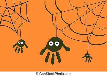 Spiders with hand prints halloween background