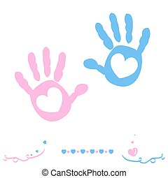 Twin baby girl and boy hand prints arrival greeting card vector