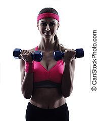 woman fitness weights training exercises silhouette