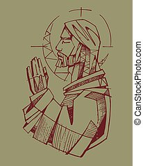 Jesus Praying - Hand drawn vector illustration or drawing of...