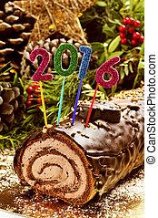 2016 yule log cake - a yule log cake, traditional of...