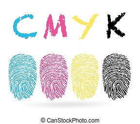 Cmyk colors with finger prints
