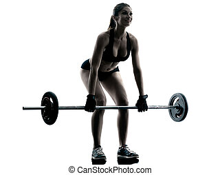 body buiding woman isolated - one caucasian woman exercising...