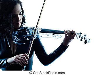 Violinist woman slihouette isolated - one caucasian...