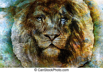 Drawing of a lion head with a majestically peaceful expression on wood abstract background. eye contact