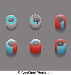 set of 3D pie charts business items and stat Vector